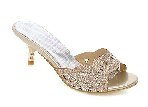 Aisun Women's New Rhinestones Open Toe Dress Slip On Slide Sandals Stiletto Kitten Heels Shoes Gold 8.5 B(M) US (Kitten Mule)