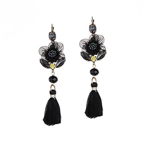 eManco Statement Lace Flower Tassel Beaded Leverback Earrings Handmade Jewelry for Women (Crystal Beaded Leverback Earrings)