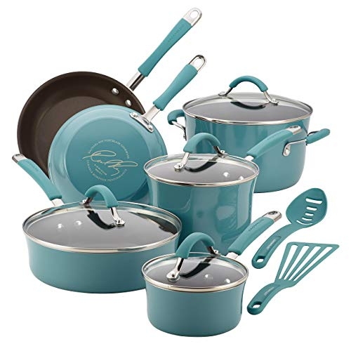 Rachael Ray Cucina Hard Porcelain Enamel Nonstick Cookware Set, 12-Piece, Agave Blue (Renewed) (Best Cookware For The Price)