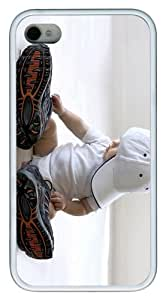 coolest case Baby with big Shoes TPU White Case for iphone 4/4S