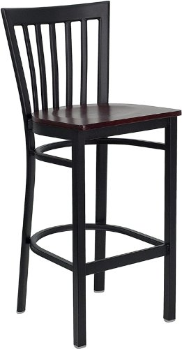 (Flash Furniture 29 in. Hercules School House Back Wood Seat Restaurant Bar Stool - Black)
