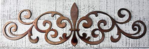 Ornamental Fleur de Lis Scroll Metal Accent ()