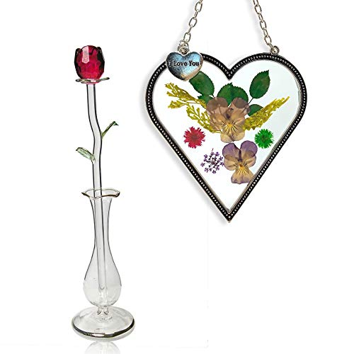 BANBERRY DESIGNS Heart Sun-Catcher and Red Crystal Rose Set - I Love You Charm on Suncatcher with Pressed Flowers - Red Forever Rose in Glass Bud Vase (Glass Pressed Heart)