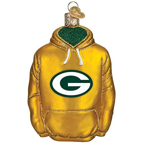 Licensed NFL Hoodie Blown Glass Christmas Tree Ornament - Greenbay Packers