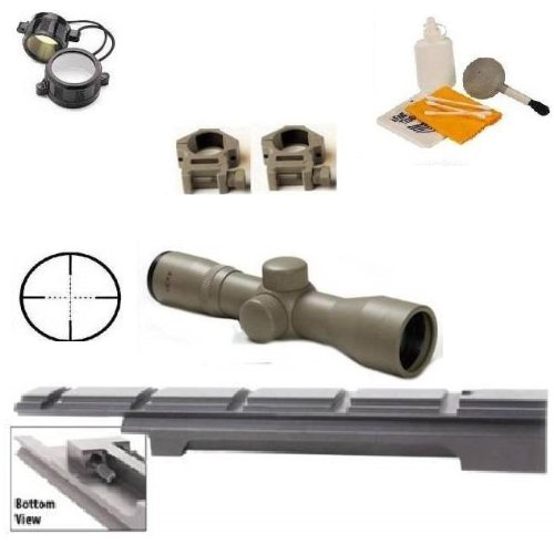 Ultimate Arms Gear Enfield Rifle Scope Sight Model .303 NO.1 MK3 Weaver Picatinny Rail Mount + Tan Finish 4x30 Mil Dot Scope + Scope Rings + Lens Covers + Lens Cleaning Kit