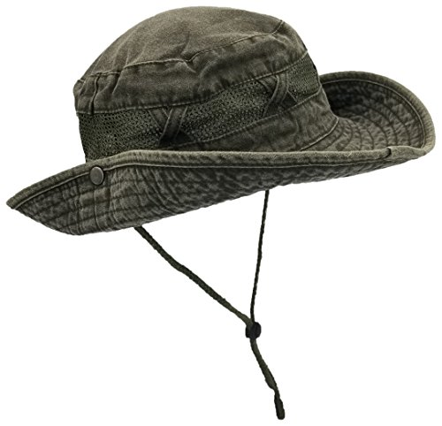 Outdoor Summer Boonie Hat for Hiking, Camping, Fishing, Operator Floppy Military Camo Sun Cap for Men Or Women (Army Green (Mesh Strip), 1 Pack)