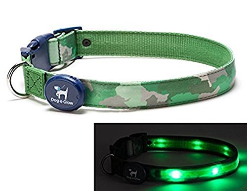 fort Collar - Patented Light Up Glowing Collar for Puppies and Dogs of all Kinds for Training and Outdoor Fun - by Dog E Glow (Medium (10-15 inches), Green Camo) ()
