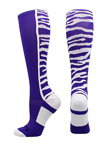 (MadSportsStuff Crazy Socks with Safari Tiger Stripes Over The Calf Socks (Purple/White, Medium))