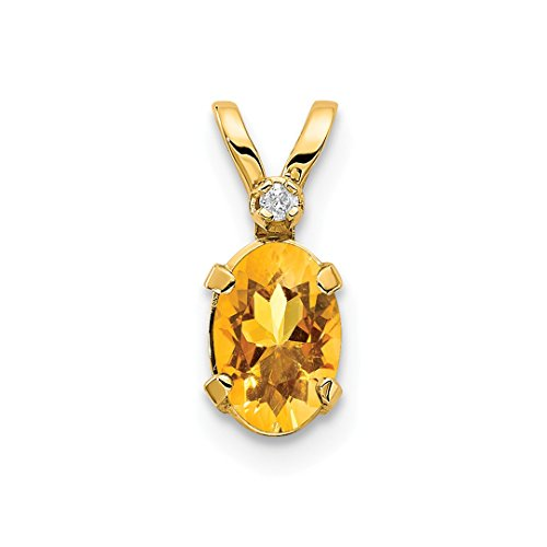 14k Yellow Gold Diamond Citrine Birthstone Pendant Charm Necklace November Oval Fine Jewelry Gifts For Women For ()