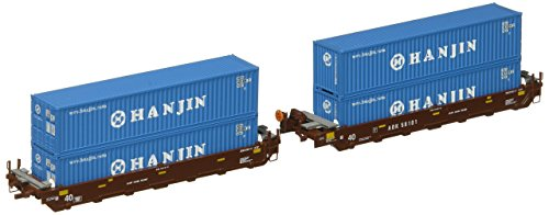 Double Stack Well Car (Kato USA Model Train Products Gunderson MAXI-I AOK #58101 Double Stack Car Set with HANJIN 40' Containers, 5-Unit Set)