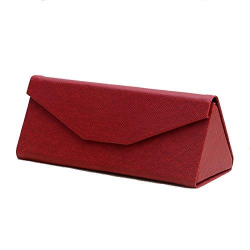 Mimgo Store Protable Light Triangular Fold Case Glasses Eyeglass Sunglasses Protector Box (Red)