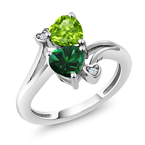 Gem Stone King 925 Sterling Silver Green Peridot and Green Simulated Emerald Ring 1.54 Ctw Heart Shape (Size 7)