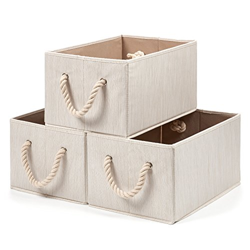 EZOWare [Set of 3] Foldable Bamboo Fabric Storage Bin with Cotton Rope Handle, Collapsible Water Resistant Basket Box Organizer for Shelves, Closet, and More – Beige / Large