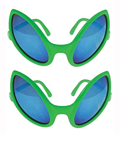 Green Alien Glasses 5 1/2 Inch Sunglasses - 2 Pack]()