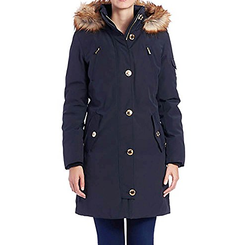 MICHAEL Michael Kors Women's Down Parka w/Faux Fur Trim Navy (Womens Down Parkas)