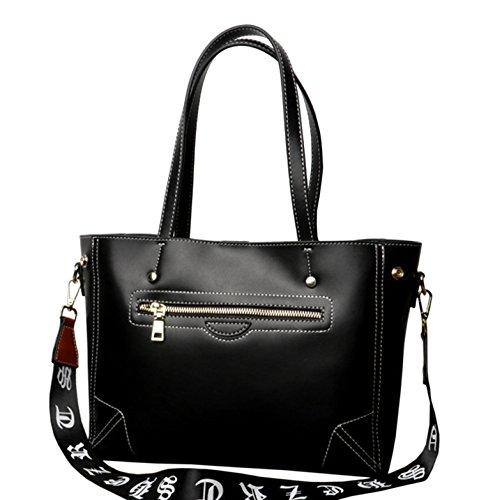 y Negro bolsos hombro SAIERLONG de Nueva Shoppers Negro Piel Genuina Mujer SYawf