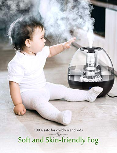 Homasy Humidifier, Upgraded Cool Mist Humidifiers with Maifan Stones Filter, Top-Fill Humidifier for Baby Room Office, Touch-Control with 3-Level Mist Adjustable Last Up to 24 Hours, Auto Shut-Off