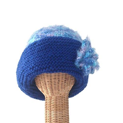 Wide Brim Flower Cloche in Blue Wool