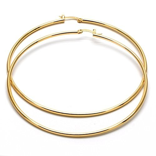 Big Hoops for women 14k Gold Filled Extra Large Hoop Earrings (80mm x 2mm) yellow gold tone
