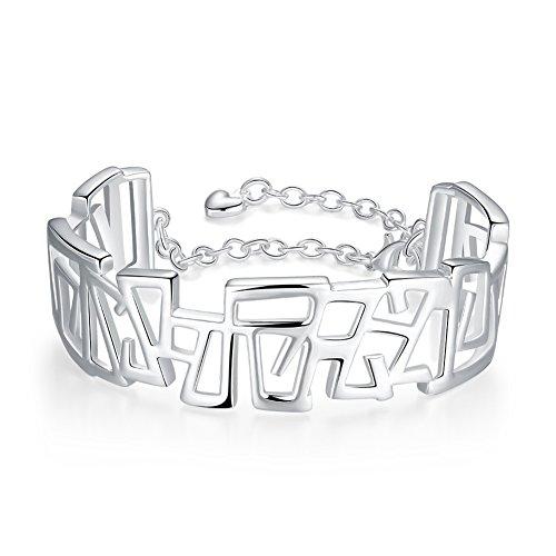 Coleman Sterling Silver Bracelet (Geometric Bangle Bracelet Fashion Jewelry Silver Plated Bracelet- Lacey D. Coleman)