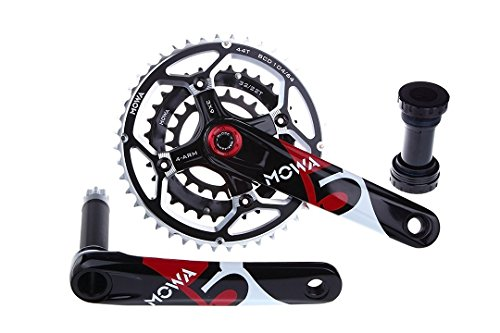 MOWA Five XC MTB Mountain Bike Triple Crankset 9 Speed 44 32 22t 170mm 175mm (Black, - Bike Crank Xc Mountain