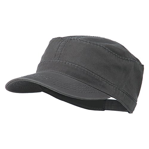 Heavy Garment Washed Cotton Cap (Garment Washed Heavy Stitching Army Cap - Charcoal Grey OSFM)