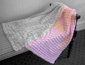 Blanket Stitch Baby Blanket Crochet Kit in Toybox Confetti Yarn - Pink Confetti