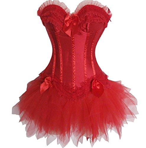 Rosfajiama Leopardo Corsé y Falda Tutú De Tul Disfraz de Halloween Para Mujer Rojo