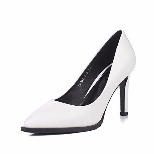 HXVU56546 Los Zapatos De Tacón Alto Nuevo Otoño Puntiagudas Boca Superficiales Finas Zapatos Zapatos De Mujer White
