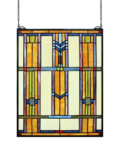 Yogoart Mission Stained Glass Window Transom 16 X 20 Craftsman Architectural Tiffany Window Hanging