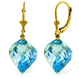 14k Gold Dangle Earrings with Twisted Spiral Natural Blue Topaz Drops