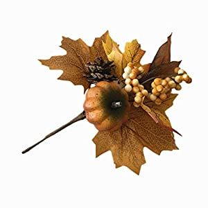 Merryoung Artificial Pumpkin Bouquet with Maple Leaves Berry Pinecones Decoration for Fall Display Wedding Party Holiday Miniature Garden Venue Decoration Craft DIY Pack of 1 4