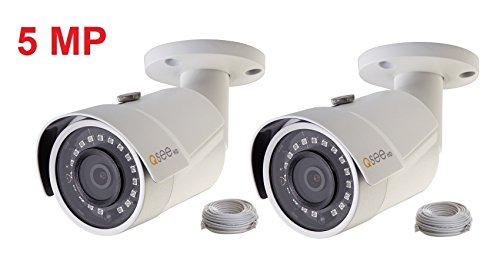 Q-See 2-pack of 5MP HD QC IP Series QCN8099B Security Camera with Color Night Vision and H.265