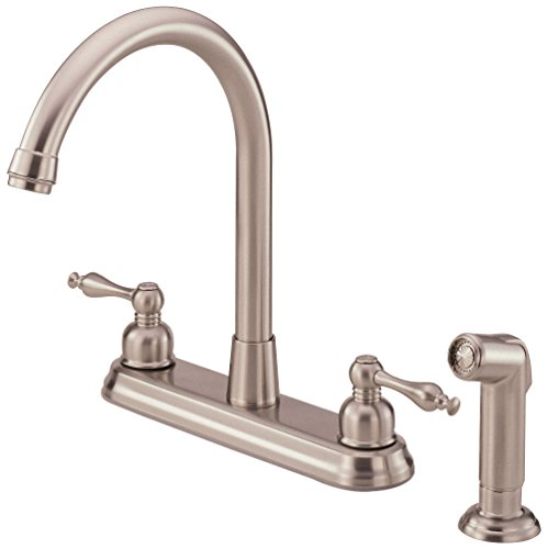 (Danze D422255SS Sheridan Two Handle High-Rise Kitchen Faucet with Side Spray, Stainless Steel)