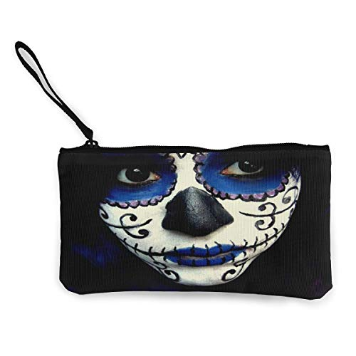 Coin Purse Guy Sugar Skull Makeup Men Fastener Canvas Purse Wallet TravelCustomized Bag]()