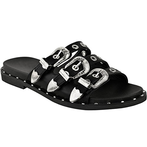 Fashion Thirsty Heelberry® Womens Low Heel Flat Chunky Studded Sandals Summer Black Biker Buckles Goth Size Black Faux Leather IN26H