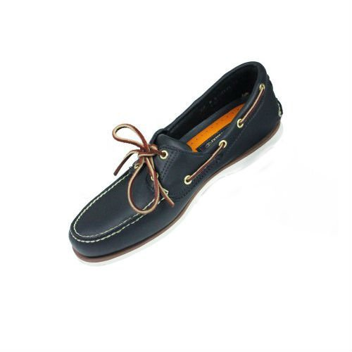 Timberland Hombre 74036 Clásico 2 OJOS Cuero Azul Marino Barco Zapatos Cordones Números Reino Unido