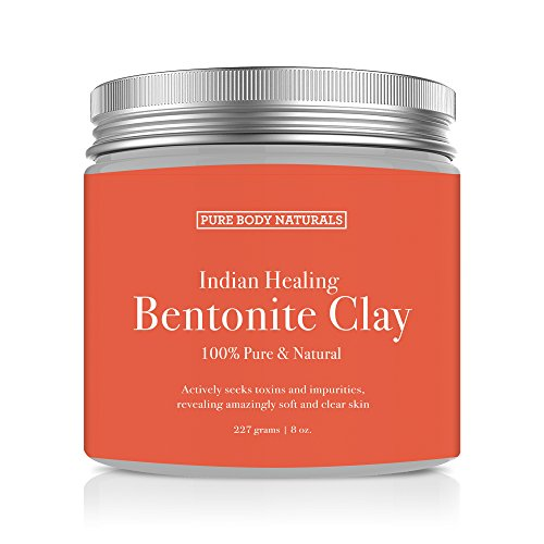 Indian Volcanic Clay (Pure Body Naturals Sodium Bentonite Indian Healing Clay for Deep Skin Pore Cleansing, 8 Ounce)