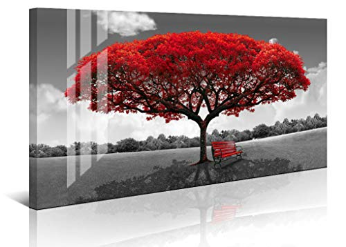 LJZart Black White Canvas Wall Art Bedroom Large Red Tree Prints Picture Glass Surface Artwork Ready to Hang Home Bedroom Decoration Decor 24x48 ()