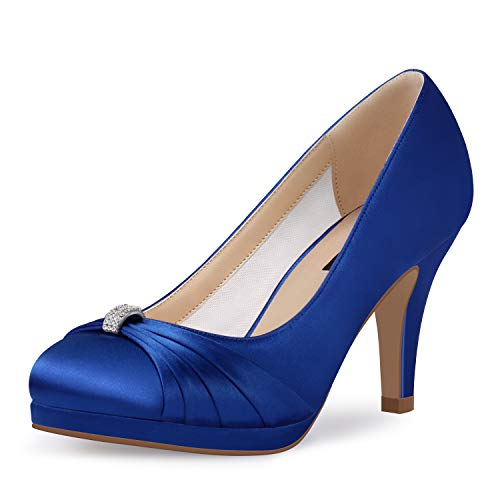 ERIJUNOR E0113 Women Comfortable Mid Heel Pumps Closed Toe Rhinestone Brooch Satin Evening Prom Wedding Shoes Blue Size6 ()