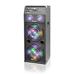 Pyle PSUFM1045A Disco Jam 1000 Watt 2-Way Speaker System with Flashing DJ Lights, SD Reader, FM Radio, 3.5mm AUX Input