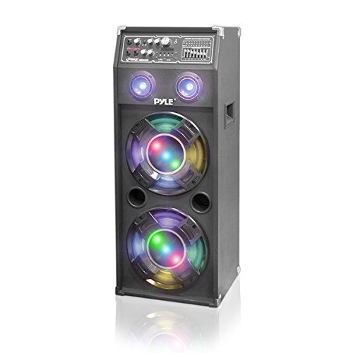 Pyle PSUFM1045A 1000-watt 2-Way DJ Speaker System with USB/SD Readers, FM Radio, 3.5mm AUxInput and DJ Flashing Lights Sound Around