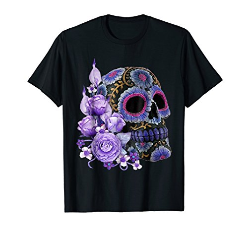 Purple Floral Black Sugar Skull Day Of The Dead T Shirt]()