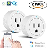 Smart Plug WiFi Enabled Mini Wireless Smart Outlet Socket Switch Works with Amazon Alexa Echo Google Home Assistant,No hub Required,Remote Control (white)