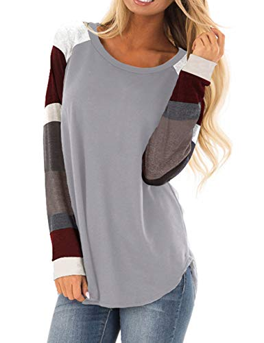 Women's Long Sleeve Cotton Knitted Patchwork Casual Tunic Sweatshirt Tops Grey M