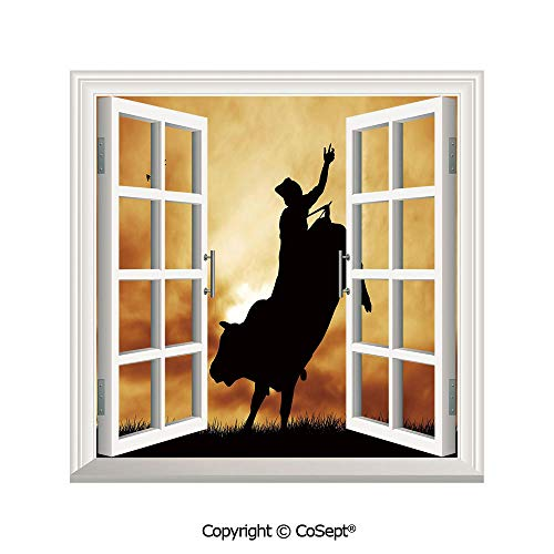 (SCOXIXI Removable Wall Sticker,Bull Rider Silhouette at Sunset Dramatic Sky Rural Countryside Landscape Rodeo Decorative,Window Sticker Can Decorate A Room(26.65x20 inch))