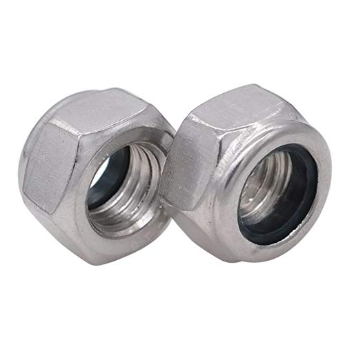 Flanged Lock Aluminum Nut (YXQ M3 x 0.5mm Lock Nuts Screw Fastener 304 Stainless Steel Hex Insert Female (120Pcs))