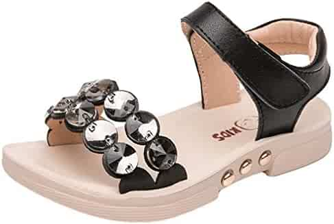 be76fe5e0d9 VECJUNIA Girl s Flats Sandals Open Toe Low Top Anti-Slip Shoes with  Rhinestones Beach Sandals