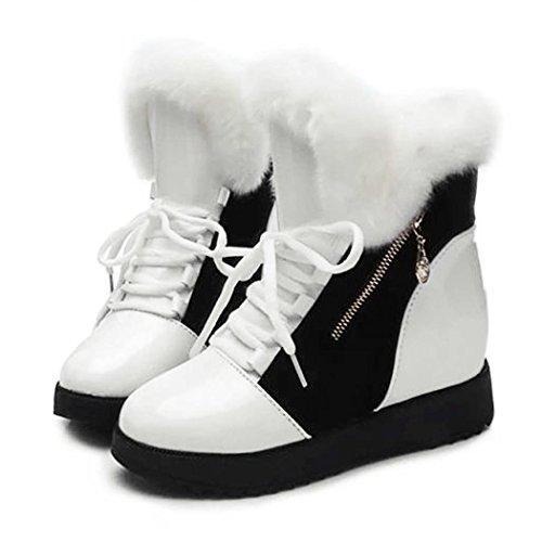 Neve Scarpe Pelle Pellicce Stivali Verniciata Bianco 40 Lana Cooshional 36 E Da Invernali Casual Donna UqIwttO
