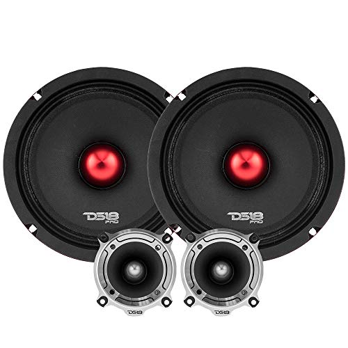 "DS18 PRO-X8.4BMPK Mid and High Complete Package - Includes 2X Midrange Loudspeaker 8"" and 2X Aluminum Super Bullet Tweeter 1"" Built in Crossover - Door Speakers for Car or Truck Stereo Sound System"